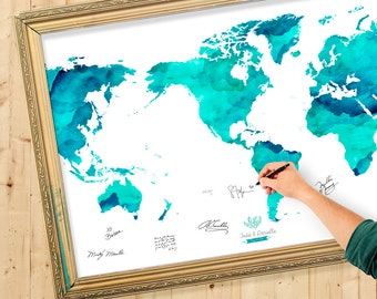 Guest book map etsy more colors wedding guest book watercolor world map gumiabroncs Images