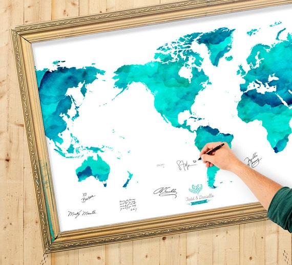 Wedding guest book watercolor world map custom color add gumiabroncs Images