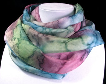 Scarf, Silk Scarf, Hand Painted Scarf, Watercolor scarf, Birthday Gift, Mother's Day Gift - Wildflower Dreams