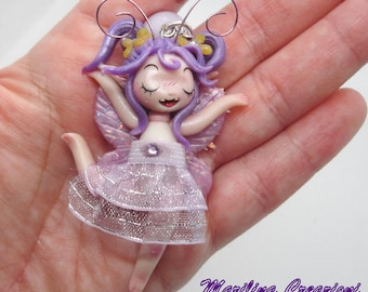 Necklace firefly fairy dancer ooak single piece handmade polymer clay  gift idea for her