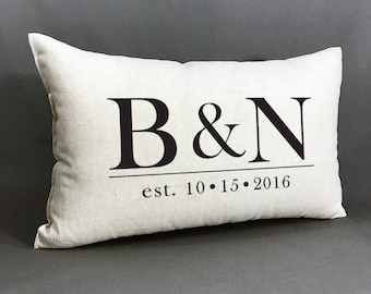 Personalized Wedding Pillow, Personalized Pillow,Monogrammed Pillow With Wedding Date, Anniversary Pillow, Cotton Anniversary, Peronalized W