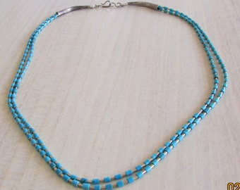 Liquid Sterling Silver and Turquoise Heshi 2 Strand Necklace 16 1/2""