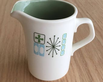 Cathay by Taylor Smith & Taylor creamer mod atomic starburst green and blue pattern