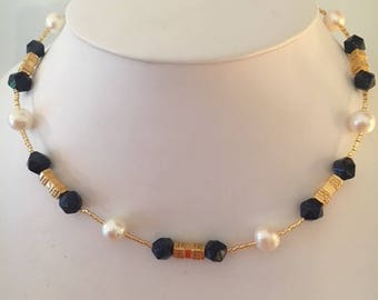 Lapis, Freshwater Pearls and Gold Necklace
