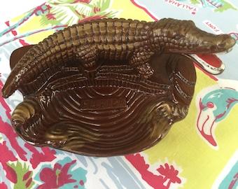 Vintage Florida ashtray alligator ash tray 1950s kitschy Florida souvenir made in Japan Floridiana