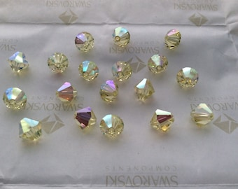 Swarovski #5301 Crystal Jonquil AB Bicone Faceted Beads 4mm 5mm 6mm 8mm