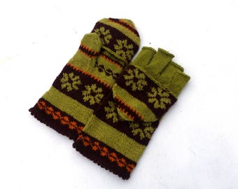 Hand knitted hooded mittens, knit green brown wool gloves, patterned winter gloves, knitting convertible mittens, half fingers gloves, mitts