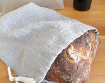 Linen Bread Bag, Natural Linen Bread Bag, Round Loaf, Reusable Bread Keeper, 100% Flax Linen