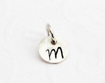 Tiny 925 silver pendant, hand stamped, wish letter, 6 mm