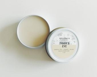 Tiger's Eye Solid Perfume Balm - 1 oz - Green Tea Amber Patchouli Musk - Natural Fragrance