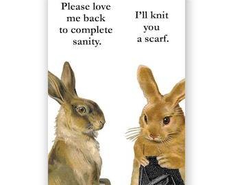 Bunny Knitting Scarf Magnet