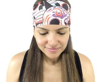 Sugar Skulls,Yoga headband,Skulls Headband,Fitness Headband,No Slip Headband,Workout Headband,Wide Stretch Headband,Running Headband S156