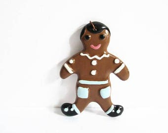 Vintage Christmas Ornament, Ceramic Ginger Bread Man, Handmade Holiday Decoration, Painted by Hand, 1960s