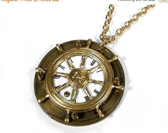Steampunk Jewelry Necklace Vintage Pocket Watch SHIPS Wheel STEAMY Nautical Statement Mens Anniversary, Fathers Day - Jewelry by edmdesigns