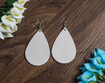 Genuine Leather Earrings Teardrop White