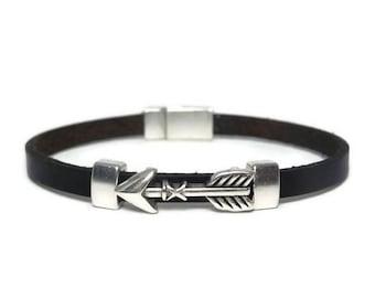Men leather bracelet, Mens Jewelry, Arrow bracelet, Leather bracelet, Men's Jewelry, Boho bracelet, Gift for Him, Tribal chic bracelet