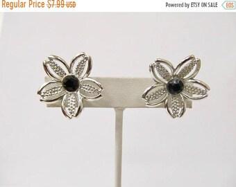 On Sale SARAH COVENTRY Vintage Black Rhinestone Floral Earrings Item K # 931
