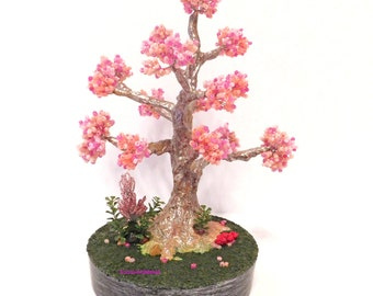 Pink Shade Beaded Tree | Bonsai Bead Tree | Wire Tree Sculpture| Handcrafted