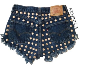 High Waisted Silver Dome Studded Fringed Hipster Festival Denim Shorts