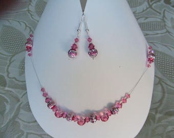 Set rose swarovski crystal