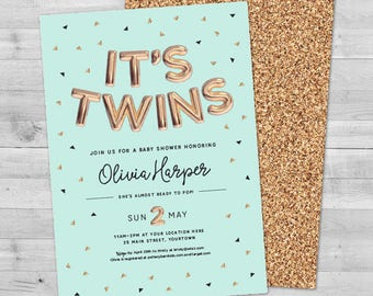 Twins Baby Shower Invites, Baby Shower Invitation Twins Baby Shower Invitation Twins Gender Neutral Baby Shower Invitations Twins Coed Baby