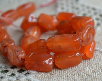 Carnelian Natural Gemstone Beads Large Nugget 16 Inches Strand 21 - 25mm