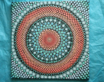 "Hand painted turqouise and coral mandala on canvas 12""x12"" dot pointillism art"