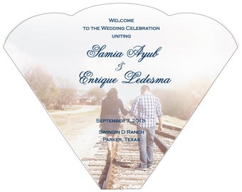 SET OF 25+ Personalized Photo Design Wedding Program Fan custom colors available