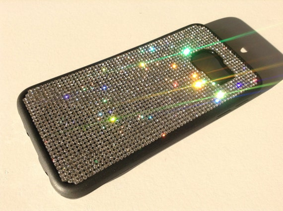 Galaxy S6 Edge Clear Diamond Crystals on Black Rubber Case. Velvet/Silk Pouch Bag Included, Genuine Rangsee Crystal Cases.