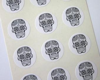 Day of the Dead Sugar Skulls One Inch Round Seals