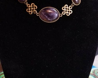 """15"""" Amethyst cabochons necklace with Celtic Knots"""