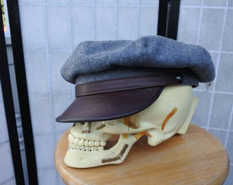Wild One Motorcycle Cap, Brando Hat, 8- quarter Flannel Hat, XL
