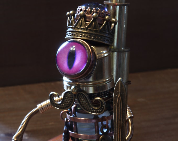The King - Steampunk Minion Robot Sculpture with purple eye,mustache,crown with dragon's breath stone, sword, tools and propeller backpack
