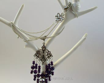 Fleur De Lis Amethyst Necklace ~~ Victorian Filigree Pendant