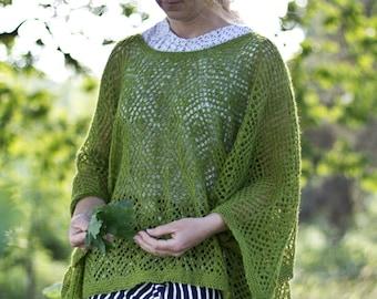 Akka - pattern for shawl sweater poncho knitting lace peacock