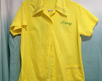 Vintage 1950s Bright Yellow Embroidered Women's Bowling Shirt by Ten Strike by King Louie   Small/Medium