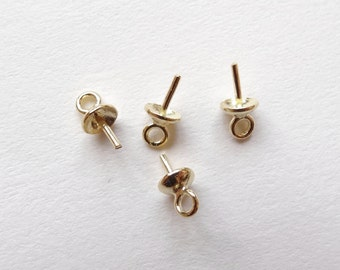 Vermeil Sterling Silver SS 4 mm Bead cap with peg and link, for half drilled beads 4 Pieces G7492