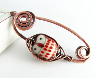 Shawl Pin Copper Wire Owl Brooch Scarf Pin Sweater Pin Fibula Wire Wrapped Jewelry Owl Shawl Pin Copper Jewelry