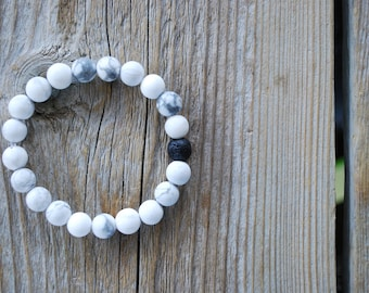 Essential oil diffuser bracelet yoga bracelet mala beads meditation beads yoga beads frosted white howlite lava beads howlite bracelet