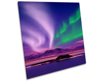 Space Northern Lights Night Purple Green CANVAS WALL ART Square Print