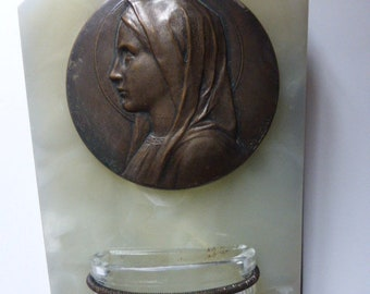 Holy Water Font,  Medal Engraved By Emile Dropsy, Onyx, Glass Water Font.
