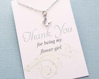 Flower Girl Gift   Butterfly Necklace, Flower Girl Proposal, Flower Girl Necklace, Bridesmaid Gift, Flower Girl Basket, Wedding   B02