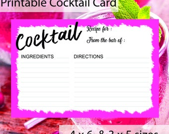 PRINTABLE Cocktail Card - 4 x 6 & 3 x 5 size - Marie Antoinette Pink