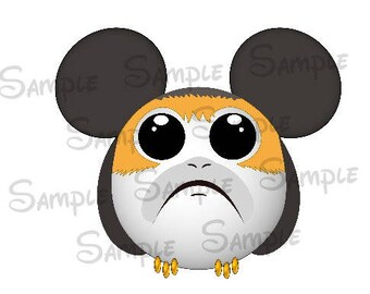 Porg inspired Character Mickey head DIGITAL printable file DIY