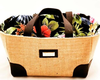Market Tote with Kauai Coffee Bag - Cinch Top Collapsable Casing - Ready to ship