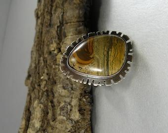 Painted Jasper, Statement Ring, Sterling Silver, Oxidized, Adjustable, Artisan Ring, Jasper Ring, Landscape, Art Jewelry, Artisan, Metalwork