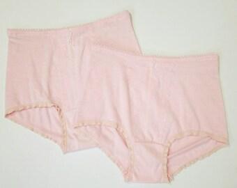 """Vintage 70s Pink Cotton Underwear, High Waist Granny Panties, Stretch Poly Cotton Undies, Set of 2, 31"""" Waist"""