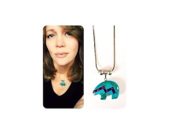 Gorgeous Southwest Turquoise Cora and Lapis Bear Pendant Necklace