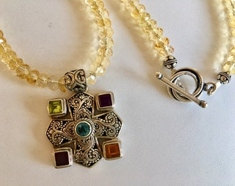 Citrine Beaded Necklace With Multi Gemstone Bali Silver Pendant