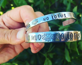 hand stamped, personalized, cuff bracelet,no mud no lotus-free domestic shipping-yoga jewelry-personalized jewelry- gift for woman